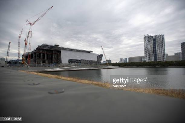 Construction sites of the Ariake Arena for Volleyball events and Paralympics' wheelchair basketball event venue at the Tokyo 2020 Olympics Tuesday...