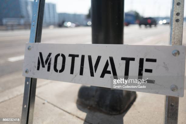 Construction style road sign reading 'Motivate' in the South of Market neighborhood of San Francisco California October 13 2017 SoMa is known for...