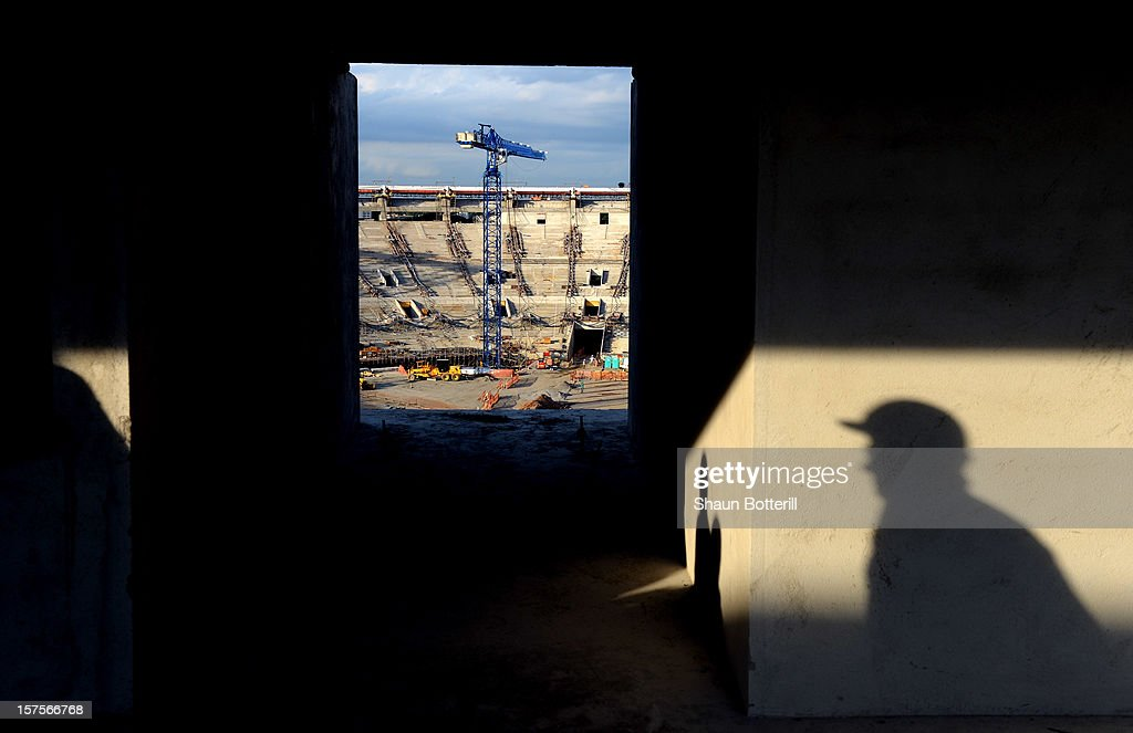 Construction takes place at the Maracana Stadium, venue for the FIFA 2014 World Cup Final on December 4, 2012 in Rio de Janeiro, Brazil.