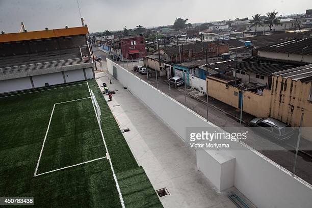 Construction takes place on the Neymar Jr. Project Institute on June 17, 2014 in Praia Grande, Brazil. Soccer star Neymar of Brazil lived in this...