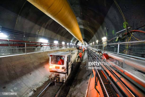 Construction train moves through the main tunnel at the Thames Tideway Tunnel super sewer construction project in London, U.K., on Wednesday, Oct. 6,...