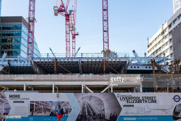 Construction underway near Moorgate station along the new Elizabeth line which is part of the Crossrail project which aims to connect the railways...