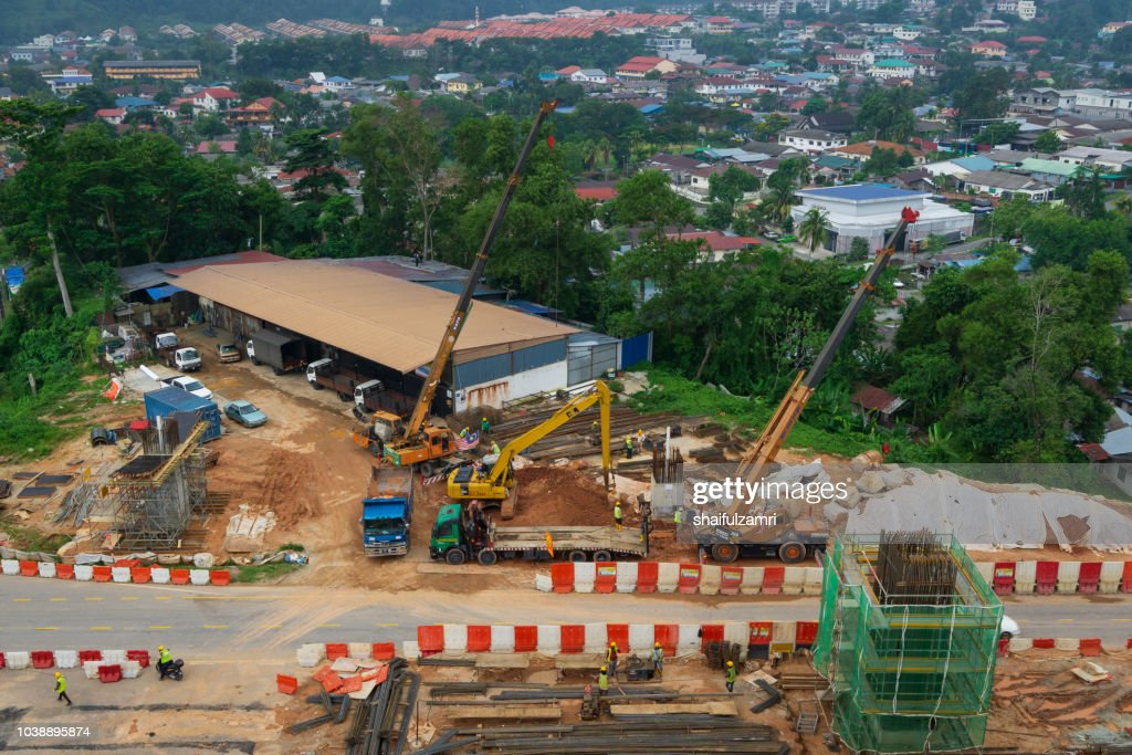 Construction view of Sungai Besi - Ulu Klang Expressway in progress, it started  since last year and expected to be complete in 2020. : Stock Photo