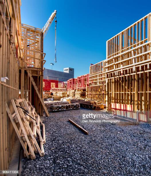 construction - with crane - foundation make up stock pictures, royalty-free photos & images