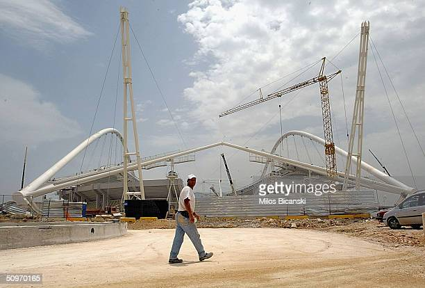 Construction work continues at a feverish pace at the main Olympic Stadium, the OAKA Olympic Sports Complex, on June 17, 2004 in Athens, Greece....