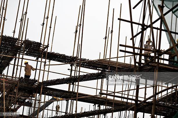 Construction work continues at breakneck speed along the Suzhou construction site for the Beijing Shanghai highspeed railway project on July 6 2009...