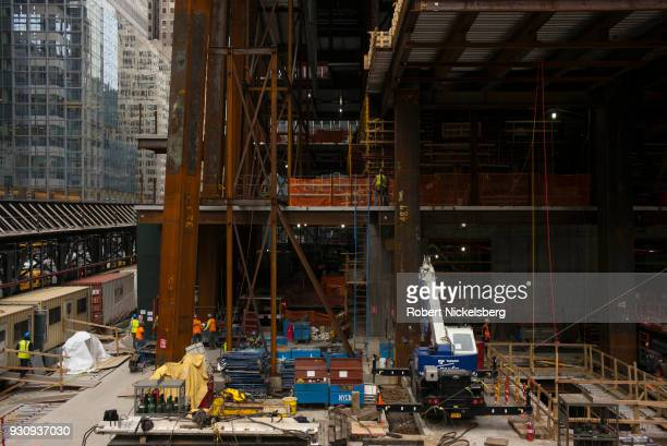 Construction work continues at the One Vanderbilt skyscraper highrise office building adjacent to Grand Central Station March 1 2018 in New York City...
