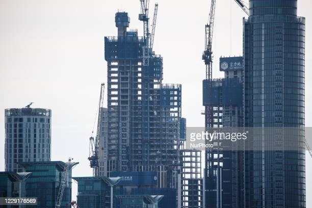 Construction work continues on high-rise buildings beside the River Thames at Vauxhall, seen from Westminster Bridge in London, England, on October...