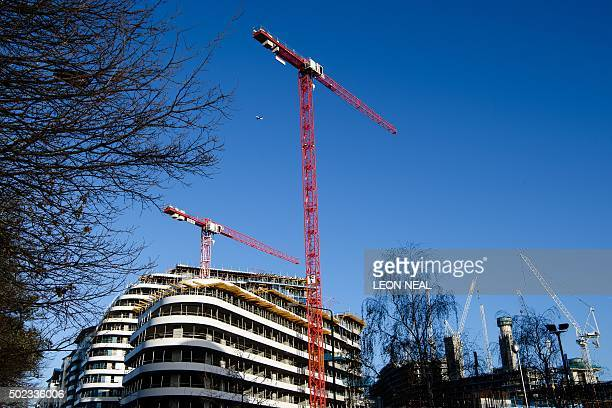 Construction work continues on the Battersea Power Station residential development complex in south west London on December 23 2015 Britain's economy...