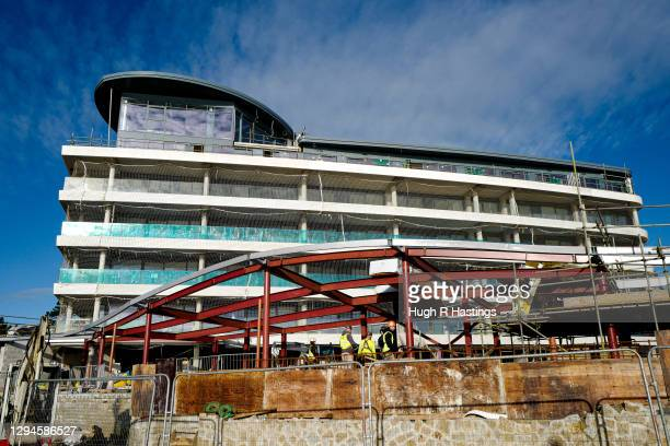 Construction work continues on The Liner new-build seafront apartments project on January 5, 2021 in Falmouth, United Kingdom. The British Prime...