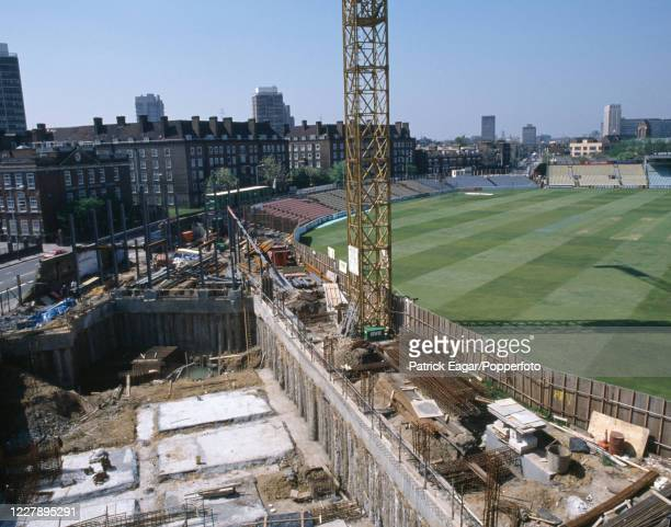 Construction work continues on the new Bedser Stand at The Oval, London, circa June 1989.