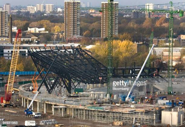 Construction work continues on the Olympic Stadium at Stratford the site of the 2012 Olympic Park in London UK on Friday Nov14 2008 The International...