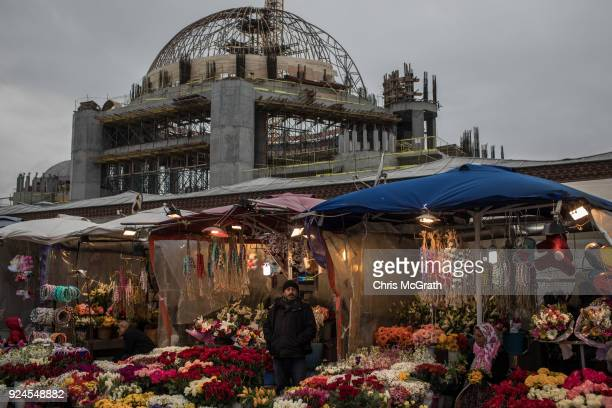 Construction work continues on the Taksim Square mosque on February 26 2018 in Istanbul Turkey Construction of the mosque began a year ago a...