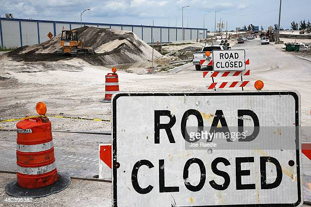 Construction work is seen at the 826 and 836 State Road Interchange July 30 2015 in Miami Florida Some of the $559million reconstruction project is...