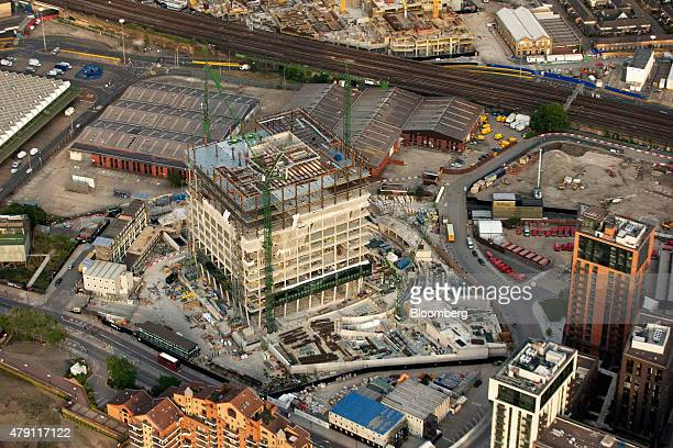 Construction work is underway on the new American embassy building part of the redevelopment of the Nine Elms area in this aerial photograph taken...