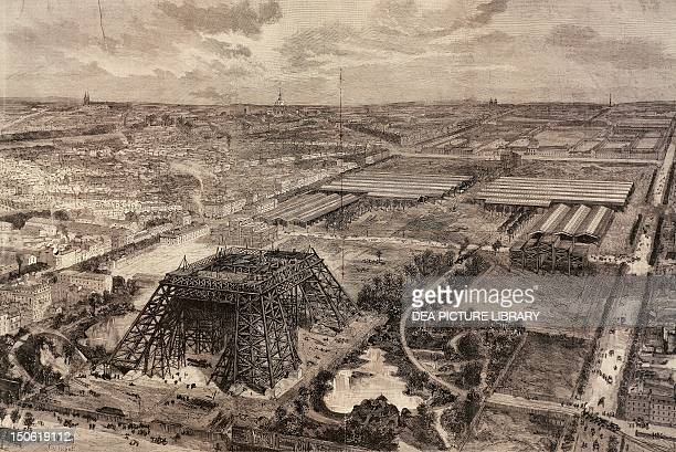 Construction work on the Eiffel Tower April 8 1888 France 19th century