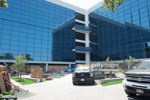 Construction work on the Robert Noyce Building at the Silicon Valley headquarters of computer hardware manufacturer Intel, Santa Clara, California,...