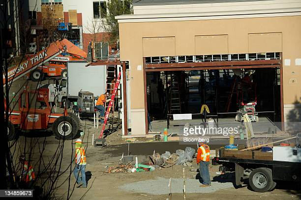 Construction work progresses on the courtyard of the new Facebook Inc campus in Menlo Park California US on Friday Dec 2 2011 Facebook hopes to...