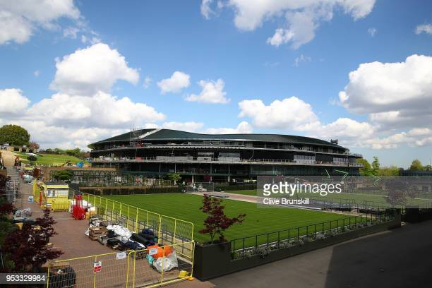 Construction work takes place on a roof for Court One during the Wimbledon Spring Press Conference 2018 at the All England Lawn Tennis and Croquet...