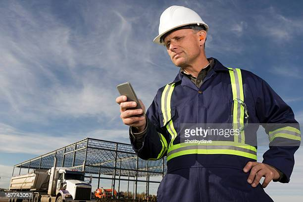 Construction Worker and Smartphone