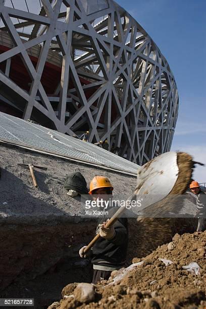 construction worker at the beijing national stadium - stadio olimpico nazionale foto e immagini stock