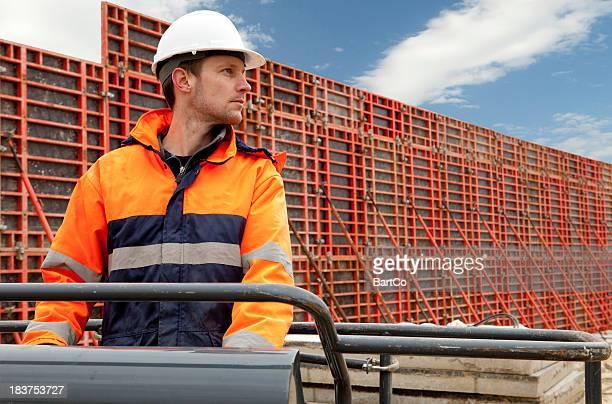 Construction worker building a new bridge.