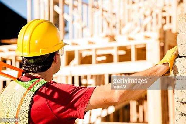 Bauarbeiter anstrengenden Training im job-Website. Gerahmte Gebäude. Materialien.