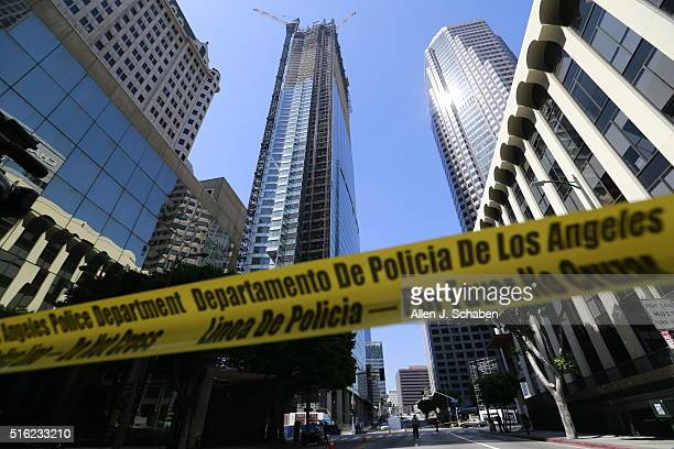 A construction worker died after falling from a highrise building on March 17 2016 in downtown Los Angeles California Witnesses reported the man fell...