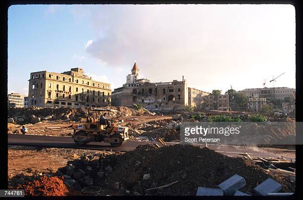 A construction worker drives to a work site at the Martyr's Square January 13 1997 in Beirut Lebanon The Bourse de Beyrouth was closed in 1983 during...