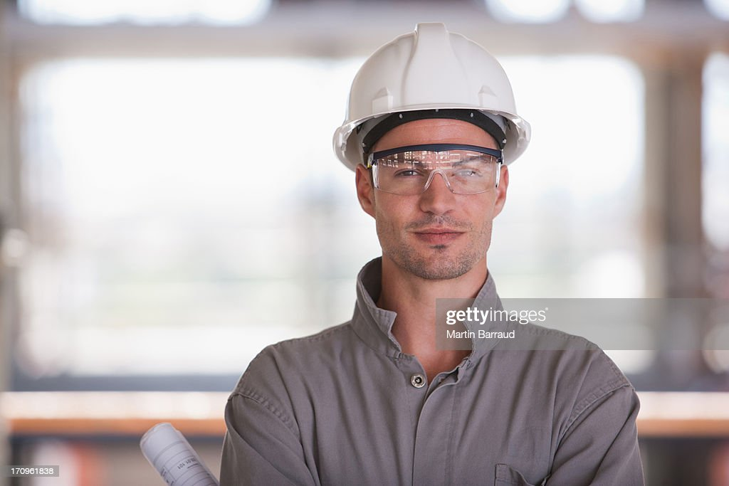 Construction worker on construction site : Stock Photo