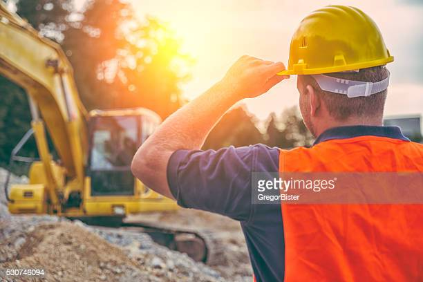 construction worker - excavator stock photos and pictures