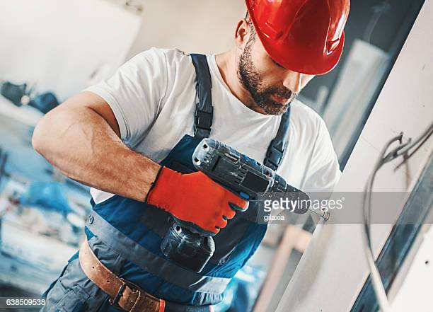 construction worker. - drill stock pictures, royalty-free photos & images