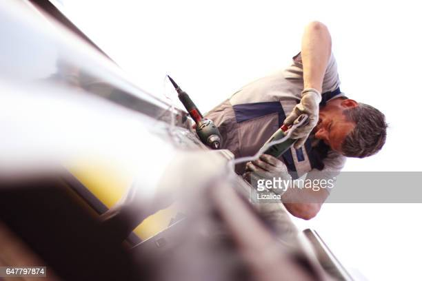 construction worker - roof stock photos and pictures
