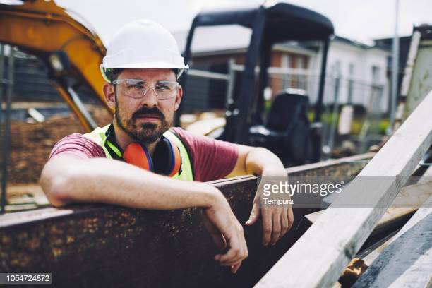 construction worker portrait - eye protection stock pictures, royalty-free photos & images