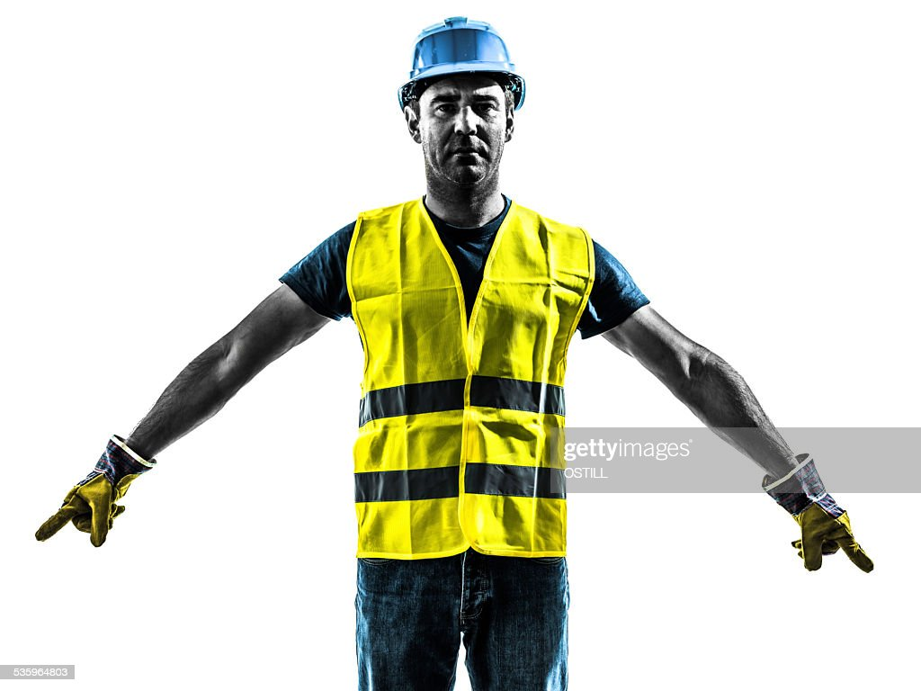 construction worker signaling safety vest silhouette : Stock Photo