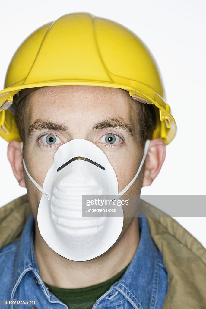 Worker Wearing Dust High Portrait Mask Construction And Hat Hard