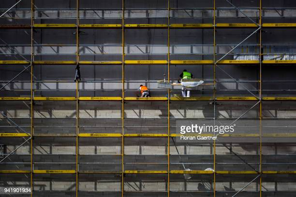 Construction worker while working on a scaffold on April 04 2018 in Berlin Germany