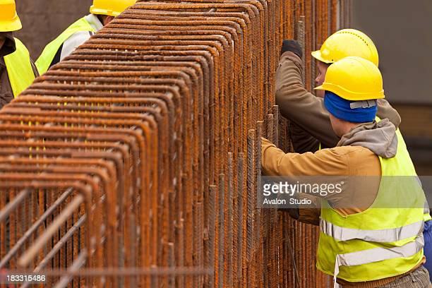 Construction workers and Concrete reinforcement