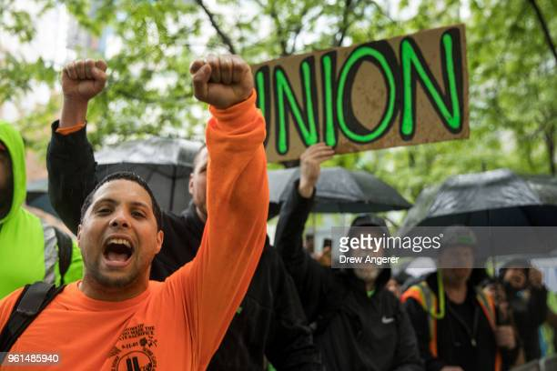 Construction workers and union members hold a rally in Columbus Circle May 22 2018 in New York City On Monday the Supreme Court delivered a 54 ruling...