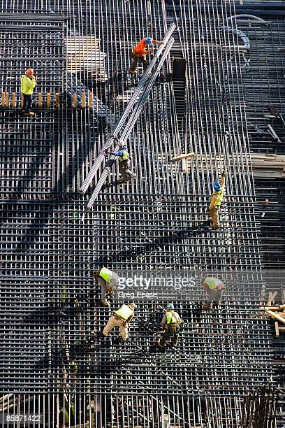 Construction Workers at Hight-rise Building Site