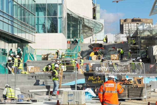Construction workers at Westfield London Shopping Centre Shepherds Bush London UK 24th October 2008