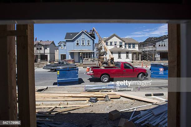 Construction workers build a house at the KB Home Magnolia at Patterson Ranch community in Fremont California US on Monday June 20 2016 The US Census...