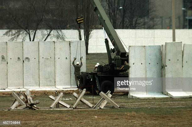 Construction workers building the Berlin Wall in the German Democratic Republic on January 01 in Berlin Germany The year 2014 marks the 25th...