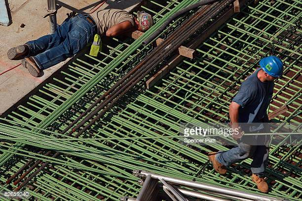 Construction workers continue to build the foundation of the Freedom Tower at the former World Trade Center site September 4 2008 in New York City...