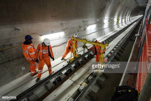 Construction workers continue to work on the eastbound track at the Farringdon Crossrail station on December 19 2017 in London England Transport for...