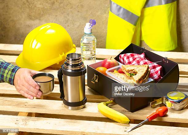 Construction workers healthy lunch box.