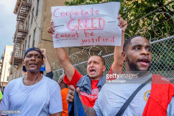 Construction workers holding a rally outside Sepulveda's office Members of Bronx Brigade a campaign fighting to increase the number of good...