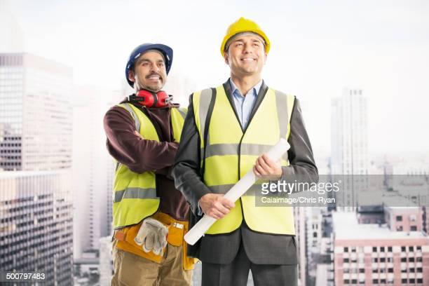 Construction workers in urban window
