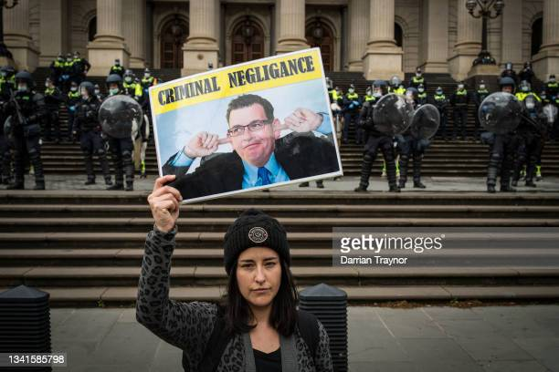 Construction workers march to Parliament House on September 21, 2021 in Melbourne, Australia. Protests started outside the headquarters of the...
