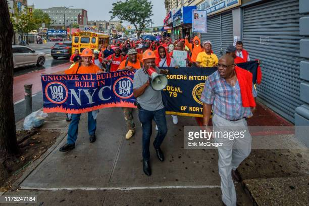 Construction workers marching to Sepulveda's office Members of Bronx Brigade a campaign fighting to increase the number of good middleclass...